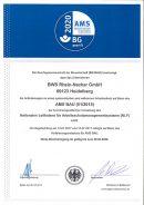 Zertifikat des AMS Bau zur Umsetzung des Nationalen Leitfadens für Abreitsschutzsmanagementsysteme (NLF)